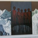 triptych of mountains and people