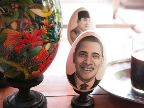 Obama and Sukarno portraits painted on eggs