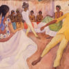 Dance in Tehuantepec / Danza en Tehuantepec, a watercolor sketch by Diego Rivera showing four dancers in the center of the watercolor