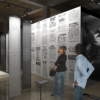 Three viewers looking at exhibits in a rendering of the forthcoming museum