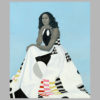 Michelle Obama depicted by Amy Sherald, with grey skintone, and black and white dress with bursts of geometric color