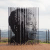 Image of sculptural bars that make the profile of Nelson Mandela's profile, by Marco Cianfanelli and Jeremy Rose