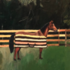 Oil painting of horse wearing striped blanket in front of wooden fence.