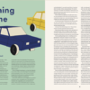 "two-page spread showing an older blue car and essay title ""Coming Home"""