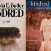 Two book covers for Kindred - one with two women facing outward with a timer between them, the other with a woman in white
